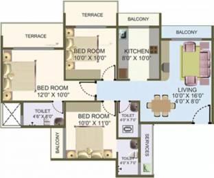 1370 sqft, 3 bhk Apartment in Nisarg Hyde Park Kharghar, Mumbai at Rs. 25000