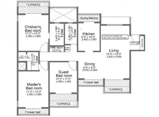 1770 sqft, 3 bhk Apartment in Regency Crest Kharghar, Mumbai at Rs. 33000