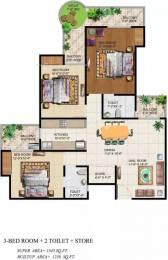 1545 sqft, 3 bhk Apartment in Ajnara Grand Heritage Sector 74, Noida at Rs. 15500
