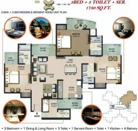 1730 sqft, 3 bhk Apartment in Sunworld Vanalika Sector 107, Noida at Rs. 20000