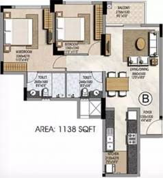 1138 sqft, 2 bhk Apartment in Prestige Misty Waters Hebbal, Bangalore at Rs. 33000