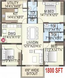 1800 sqft, 3 bhk Apartment in MK Builders and Developers Gold Coast Endada, Visakhapatnam at Rs. 72.0000 Lacs