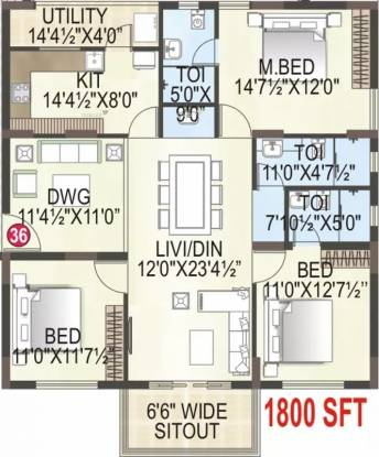 1800 sqft, 3 bhk Apartment in MK Builders and Developers Gold Coast Endada, Visakhapatnam at Rs. 75.6000 Lacs