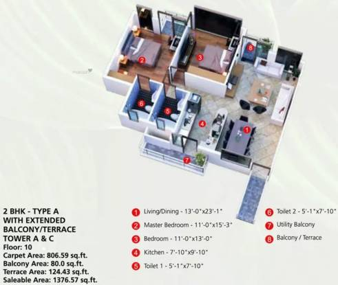 1376 sqft, 2 bhk Apartment in Raheja Vanya Sector 99A, Gurgaon at Rs. 54.6960 Lacs