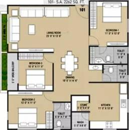 2262 sqft, 3 bhk Apartment in Western Sankheshwara Heights Adajan, Surat at Rs. 15000