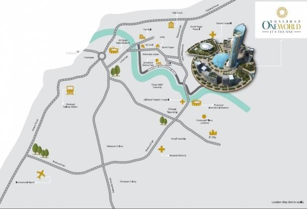 1300 sqft, 2 bhk Apartment in Shalimar Oneworld Vista gomti nagar extension, Lucknow at Rs. 41.6000 Lacs