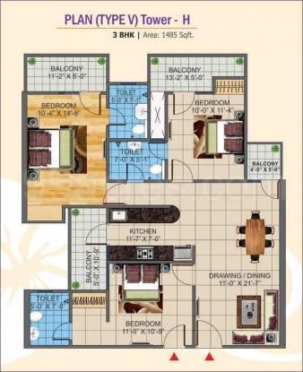 1485 sqft, 3 bhk Apartment in K World Estates Builders KW Srishti Raj Nagar Extension, Ghaziabad at Rs. 40.0950 Lacs