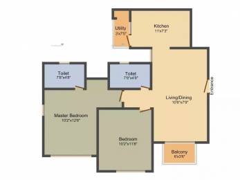 1080 sqft, 2 bhk Apartment in Adani The Meadows Near Vaishno Devi Circle On SG Highway, Ahmedabad at Rs. 12000