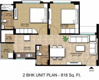 818 sqft, 2 bhk Apartment in Adani Aangan Near Vaishno Devi Circle On SG Highway, Ahmedabad at Rs. 9000