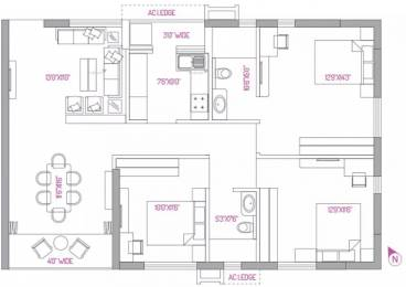 1550 sqft, 3 bhk Apartment in PS Panache Salt Lake City, Kolkata at Rs. 85.0000 Lacs