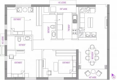 1421 sqft, 3 bhk Apartment in PS Panache Salt Lake City, Kolkata at Rs. 87.4200 Lacs