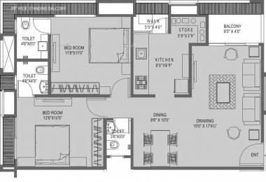 1233 sqft, 2 bhk Apartment in JP Flower Bopal, Ahmedabad at Rs. 42.0000 Lacs