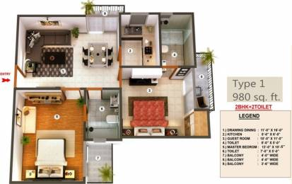980 sqft, 2 bhk Apartment in Proview Officer City Raj Nagar Extension, Ghaziabad at Rs. 8500
