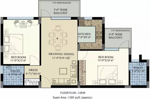 1285 sqft, 2 bhk Apartment in SBP Homes Sector 126 Mohali, Mohali at Rs. 25.0000 Lacs