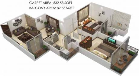 691 sqft, 2 bhk Apartment in Signature The Serenas Sector 36 Sohna, Gurgaon at Rs. 19.5400 Lacs