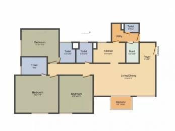 1742 sqft, 3 bhk Apartment in Elita Garden Vista Phase 2 New Town, Kolkata at Rs. 90.0000 Lacs