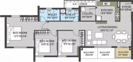 1503 sqft, 3 bhk Apartment in Elita Garden Vista Phase 1 New Town, Kolkata at Rs. 20000