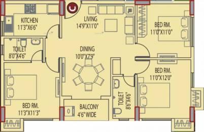 1294 sqft, 3 bhk Apartment in Eden Tolly Signature Plus Joka, Kolkata at Rs. 15000