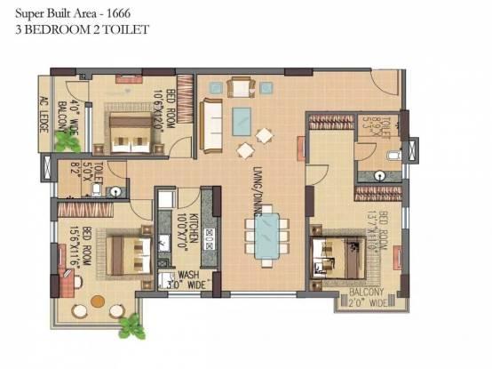 1666 sqft, 3 bhk Apartment in Forum Pravesh Howrah, Kolkata at Rs. 25000