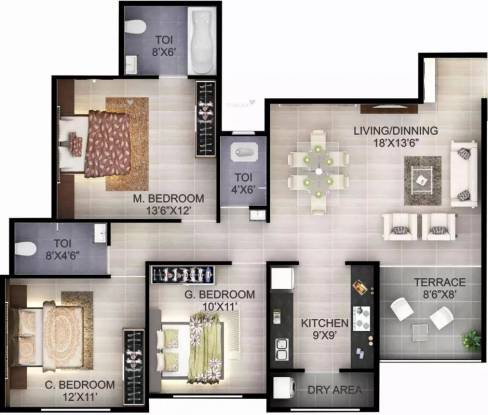1344 sqft, 3 bhk Apartment in Karda Hari Smruti Indira Nagar, Nashik at Rs. 15000