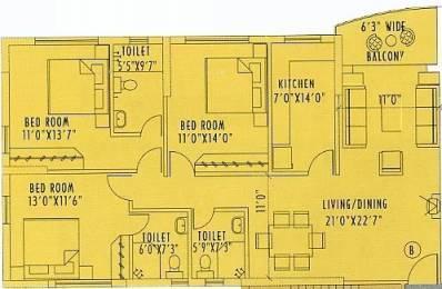 1751 sqft, 3 bhk Apartment in Space Silver Spring Tangra, Kolkata at Rs. 48000