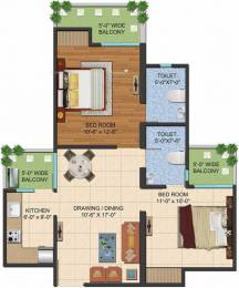 995 sqft, 2 bhk Apartment in Ajnara LeGarden Sector 16 Noida Extension, Greater Noida at Rs. 34.7255 Lacs