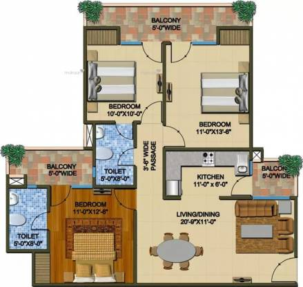 1425 sqft, 3 bhk Apartment in Supertech The Romano Sector 118, Noida at Rs. 63.4125 Lacs