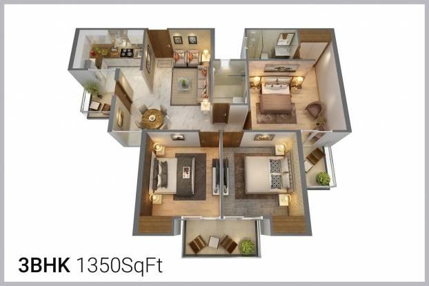 1520 sqft, 3 bhk Apartment in Gaursons Gaur Global Village Crossing Republik, Ghaziabad at Rs. 9000