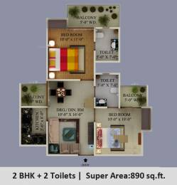 890 sqft, 2 bhk Apartment in Supertech Eco Village 1 Sector 1 Noida Extension, Greater Noida at Rs. 26.7801 Lacs
