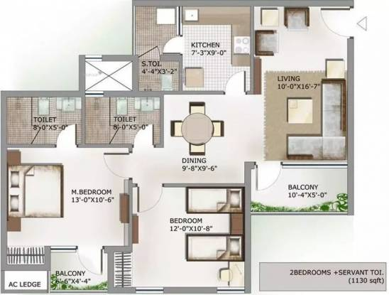 1130 sqft, 2 bhk Apartment in 3C Lotus Panache Sector 110, Noida at Rs. 14000