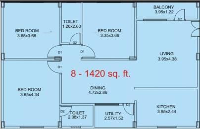 1420 sqft, 3 bhk Apartment in BVL Aakanksha Gajuwaka, Visakhapatnam at Rs. 32.0000 Lacs