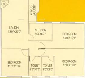 1229 sqft, 3 bhk Apartment in BCN Shyam Vihar Phase II Baguihati, Kolkata at Rs. 12000