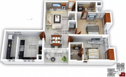 1253 sqft, 2 bhk Apartment in Kalyan Heritage Punkunnam, Thrissur at Rs. 65.0000 Lacs