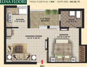 680 sqft, 1 bhk Apartment in SBP City Of Dreams Sector 116 Mohali, Mohali at Rs. 12000