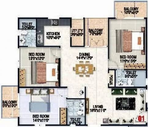 1590 sqft, 3 bhk Apartment in Sraddha White Cliff Sai Baba Ashram, Bangalore at Rs. 67.5000 Lacs