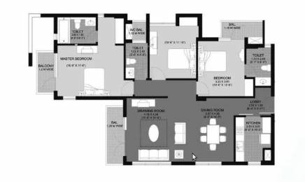 1794 sqft, 3 bhk Apartment in Unitech Fresco Sector 50, Gurgaon at Rs. 33000
