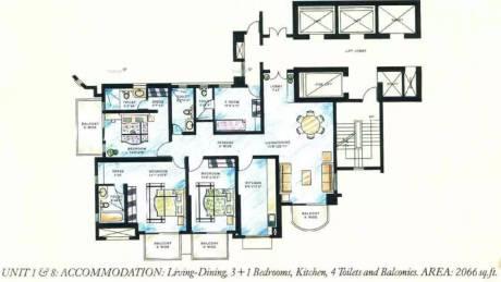 2066 sqft, 3 bhk Apartment in DLF Richmond Park Sector 27, Gurgaon at Rs. 48000