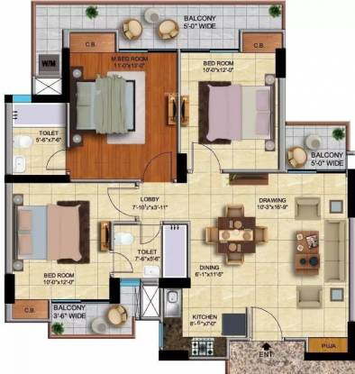 1530 sqft, 3 bhk Apartment in Ace City Sector 1 Noida Extension, Greater Noida at Rs. 53.0000 Lacs