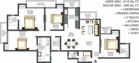 2115 sqft, 4 bhk Apartment in Prateek Wisteria Sector 77, Noida at Rs. 1.3000 Cr