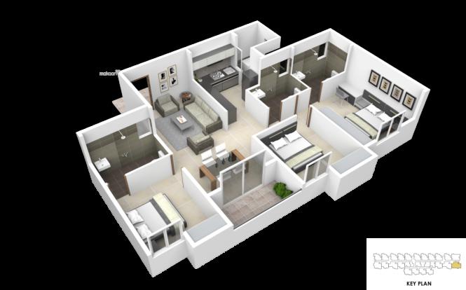 1305 sqft, 3 bhk Apartment in Subha Essence Chandapura, Bangalore at Rs. 33.2775 Lacs