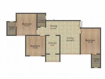 1385 sqft, 3 bhk Apartment in Goyal Orchid Divine Bopal, Ahmedabad at Rs. 25000