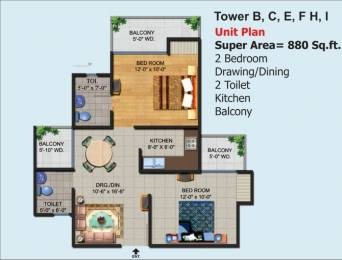 880 sqft, 2 bhk Apartment in Ajnara Homes Sector 16B Noida Extension, Greater Noida at Rs. 30.5000 Lacs