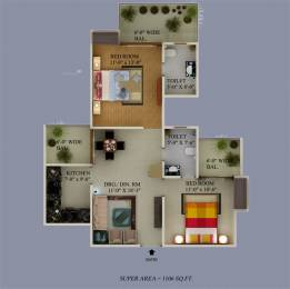 1106 sqft, 2 bhk Apartment in Supertech Eco Village 2 Sector 16B Noida Extension, Greater Noida at Rs. 34.0000 Lacs