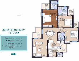 1610 sqft, 3 bhk Apartment in Earthcon Sanskriti Sector 1 Noida Extension, Greater Noida at Rs. 53.0495 Lacs
