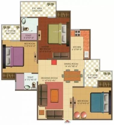 1250 sqft, 3 bhk Apartment in Galaxy North Avenue II Sector 16C Noida Extension, Greater Noida at Rs. 43.7500 Lacs
