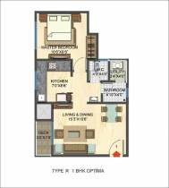 1,250 sq ft 1 BHK + 1T  in Builder Project
