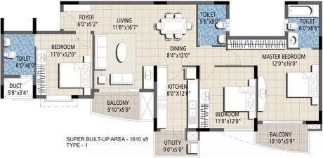 1610 sqft, 3 bhk Apartment in Purva Purva Venezia Yelahanka, Bangalore at Rs. 90.0000 Lacs