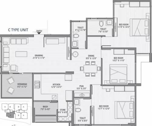 2100 sqft, 3 bhk Apartment in Maruti Shyam Residency Jodhpur Village, Ahmedabad at Rs. 1.2400 Cr