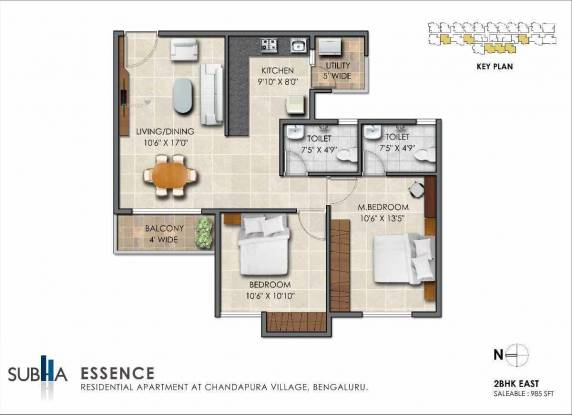 985 sqft, 2 bhk Apartment in Subha Essence Chandapura, Bangalore at Rs. 27.5800 Lacs