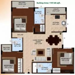 1197 sqft, 3 bhk Apartment in Vakil Daffodils Chandapura, Bangalore at Rs. 15000